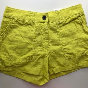 NWT - Chartreuse Linen-Blend Shorts - Size 2